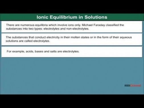 Class 11 Chemistry - Ionic Equilibrium In Solutions Video by MBD Publishers