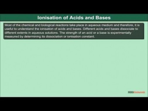 Class 11 Chemistry - Ionization Of Acids And Bases Video by MBD Publishers