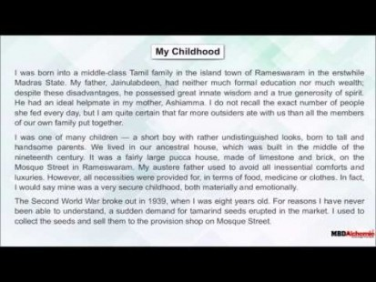 Class 9 English - Literature Beehive My Childhood Video by MBD Publishers
