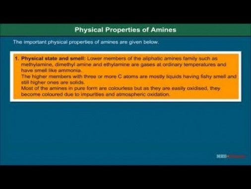 Class 12 Chemistry - Physical Properties Of Amines Video by MBD Publishers