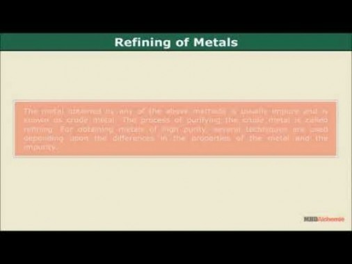 Class 12 Chemistry - Refining Of Metals Video by MBD Publishers