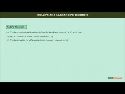 Class 12 Maths - Rolles And Lagranges Theorem Video by MBD Publishers