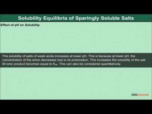 Class 11 Chemistry - Solubility Equilibria Of Sparingly Soluble Salts Video by MBD Publishers