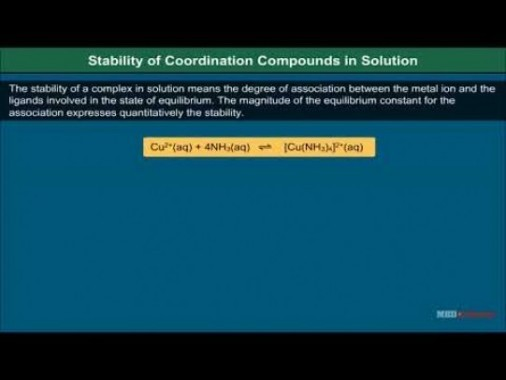 Class 12 Chemistry - Stability Of Coordination Compounds In Solution Video by MBD Publishers