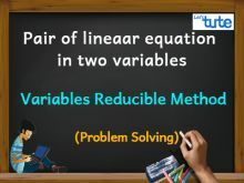 Pair Of Linear Equations In Two Variables - Variables Reducible Method - PS Video By Lets Tute